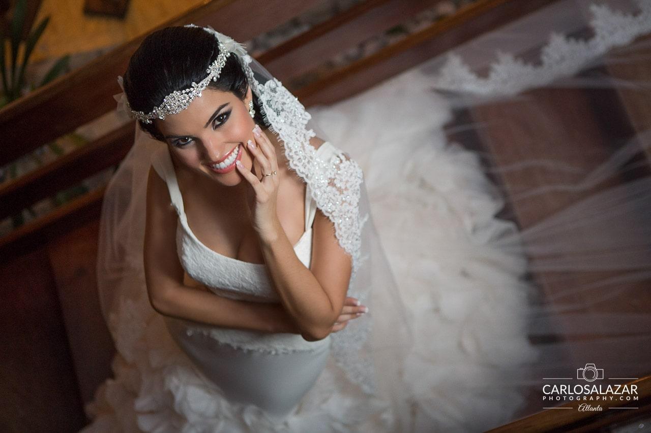 Smiling Bride in a beautiful wedding dress